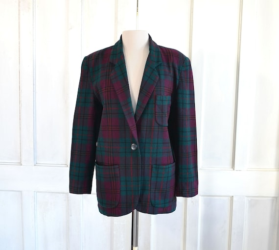 Vintage Tartan Plaid Wool Blazer - 80s Oversized B