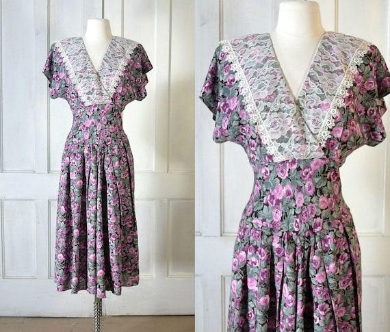 80s Vintage Floral Dress - 80s does 30s Romantic R