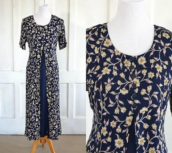 90s Vintage Grunge Floral Crinkle Rayon Dress - Bo