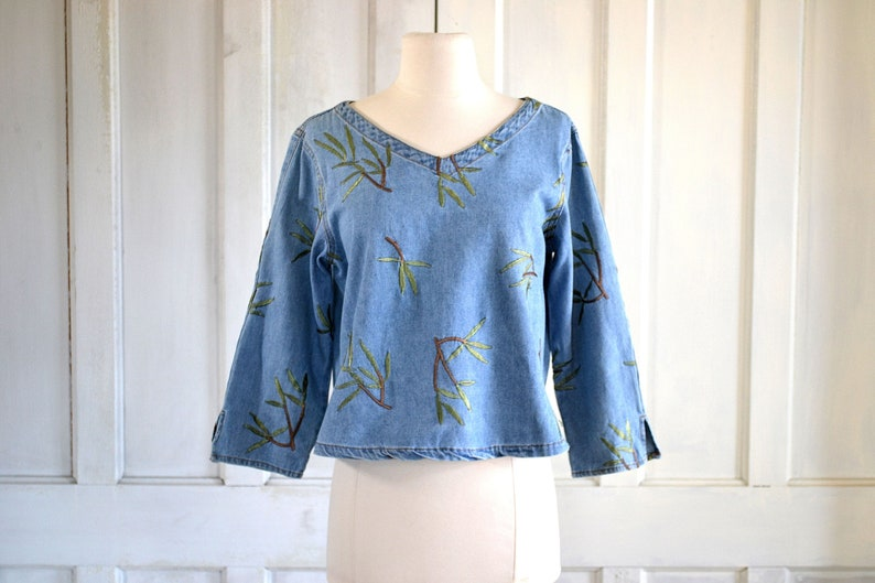90s Denim Crop Top Embroidered Denim Blouse