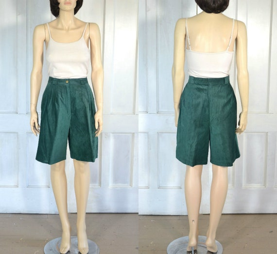 80s Vintage Suede Leather Shorts - Forest Green -