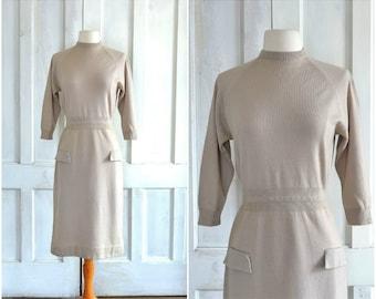 50s Wool Knit Dress 60s Wiggle Dress