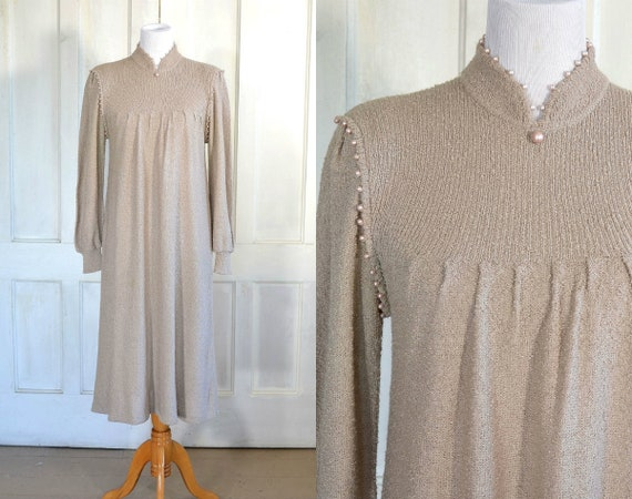 80s Vintage Sweater Knit Dress - Pearl Accents - M