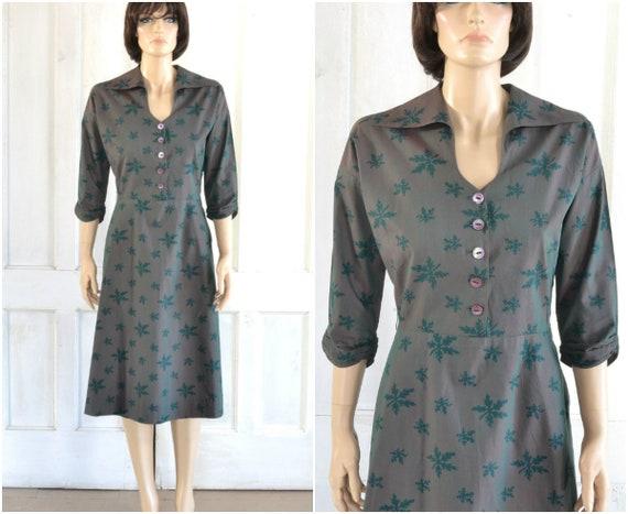 50s Fern Print Dress - Cotton Shirtdress