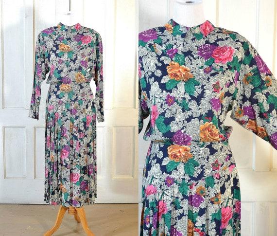 80s Vintage Rose Print Rayon Dress - Deco Style 80