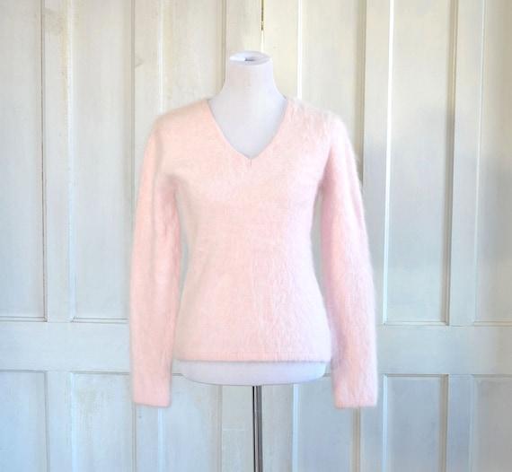 Vintage Pink Angora Sweater - Fuzzy 60% Angora - B