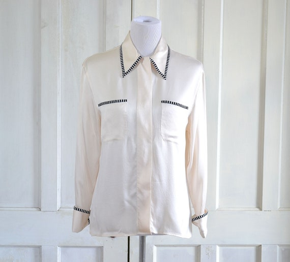 Vintage Chanel Silk Blouse - Designer Silk Shirt