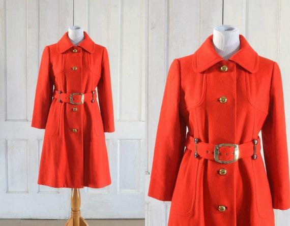 60s MOD Wool Coat - 60s Tomato Red Trench Coat