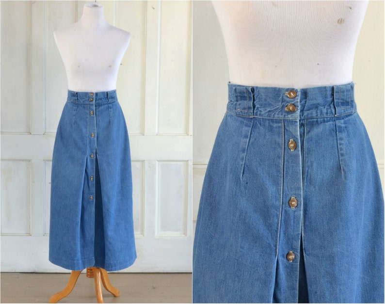 acfc94adb 80s Denim Midi Skirt Button Up High Waisted Skirt 29 | Etsy