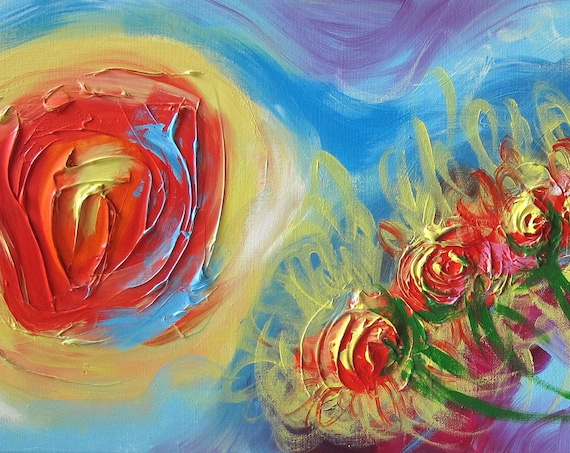 panoramic abstract art painting impressionism -orange sun daisy flowers in air