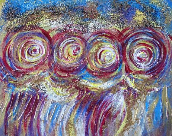 YIN LUM Blue bubbles purple mermaid abstract art painting magic sparkling dust sparks golden silver splash artwork
