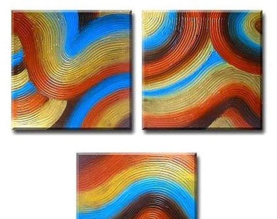 Spa art, REJUVENATION ZEN GARDEN triptych pop abstract landscape contemporary Asian art