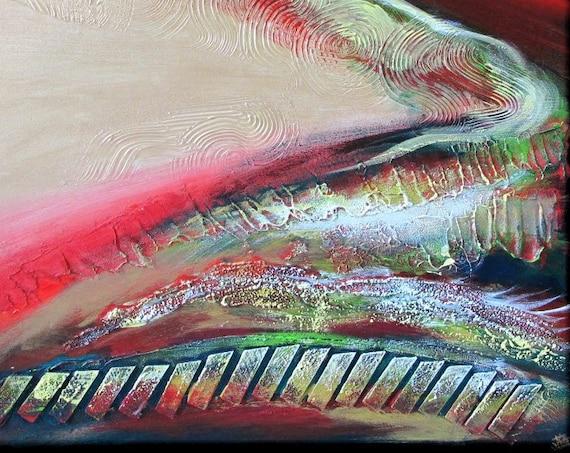 red green abstract landscape zen dream gardern calm serene green brown wood forest painting mix-media wall art decor