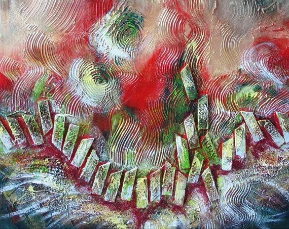 abstract landscape zen dream gardern calm serene green brown wood forest painting mix-media wall art decor