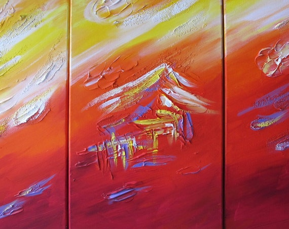 "Yin Lum - Three 12""x24"" swimming with dolphins mermaid fantasy tropical coconut island sunset sunrise hawaii painting YINART wall art decor"