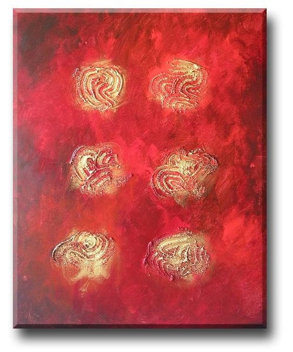 Gold on Brown on Red abstract art