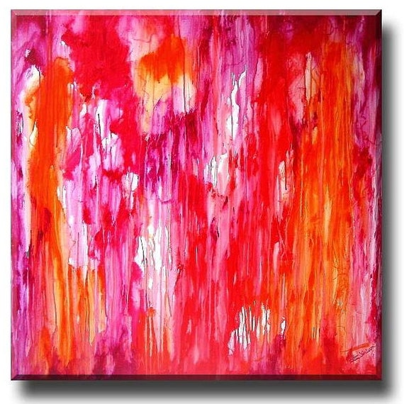 Pink Orange abstract art, landscape painting, Waterfall Global Warming Art