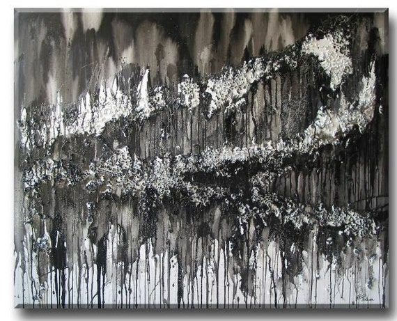 "original large huge Global Warming Abstract Landscape painting - White monochrome Black Global Warming Art (Carbon Cycle 40""x50"" Yin Lum)"