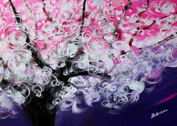 pink tree painting, Forest art, midnight art work, wall art, abstract tree, custom artwork, moonlight painting, twilight scene, xmas gift
