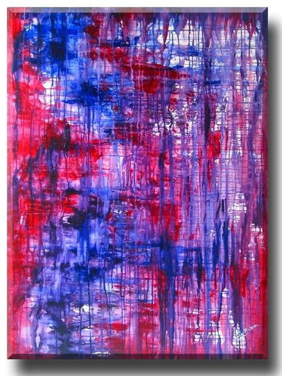 "large wall art, landscape painting, red blue purple abstract painting, Global Warming Art (Trapped 36""x48"" Yin Lum)"