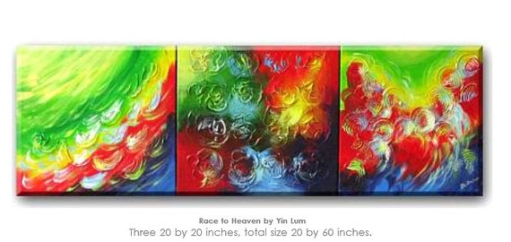 wall art / - 3 art - Race to Heaven - Contemporary Abstract Chinese Dragon Art Painting