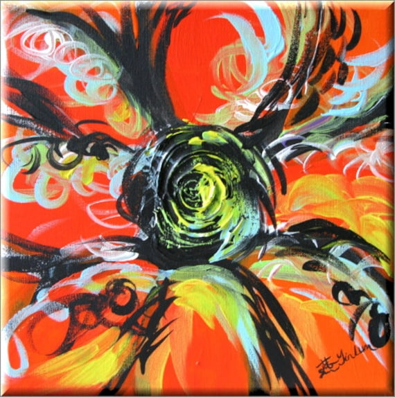 "Orange abstract art, Orange pop art, daisy room decor, daisy canvas, poppy painting, zen art, Sexy Orange Flower art 12""x12"" Yin Lum YINART"