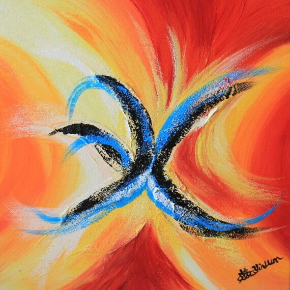 "Chinese Calligraphy painting, Chinese symbol painting,  Feng shui painting, Zen wall art, Orange painting, Yellow art - Fire 12""x12"" Yin Lum"