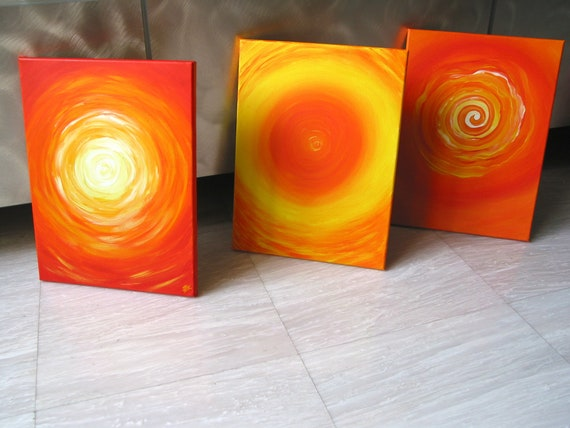 "pop art, 3 panel wall art, triptych art, circle painting, spin painting, retro painting, sun art, LOLLIPOP 3 8""x10"" Yin Lum (Art Commission)"
