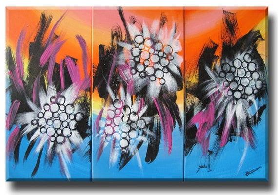 yellow orange blue glow worm flower abstract painting original art chinese calligraphy brush strokes white stencil circles retro colors art