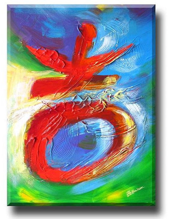 Red Chinese calligraphy symbol painting, original chinese painting, modern chinese painting, contemporary chinese art, Yin Lum