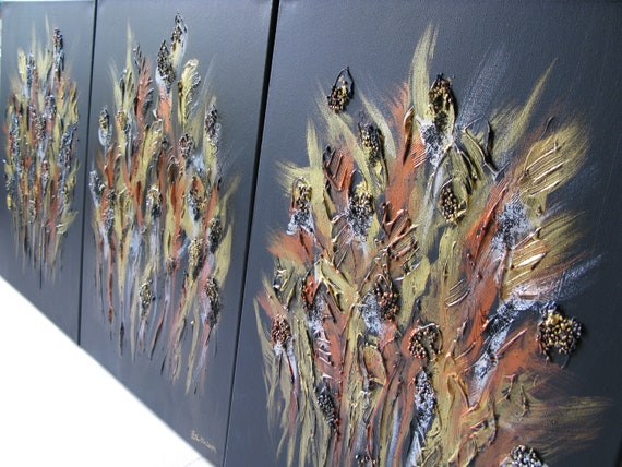 Black goldern bronze sparking harvest crops - Contemporary Abstract Chinese Dragon Art landscape cloud heaven forest gardern floral Painting
