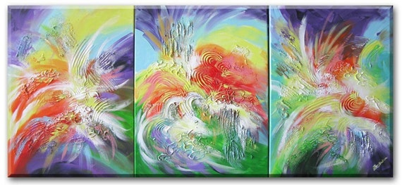 "Dragon painting, Fengshui art,  waterfall art, lake art, mountain painting (Sacred Dragon Painting - 3 piece triptych art 12""x24"") Yin Lum"