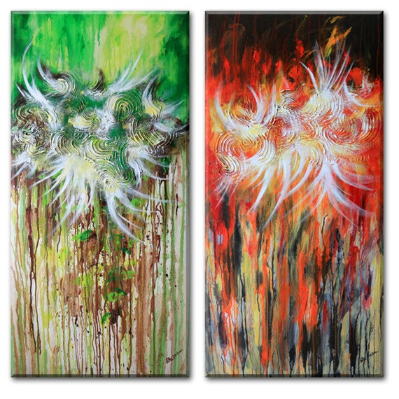 "Abstract Landscape painting - red green brown Global Warming Art, flower painting (Forest Fire -Two 24""x48"" Yin Lum)"