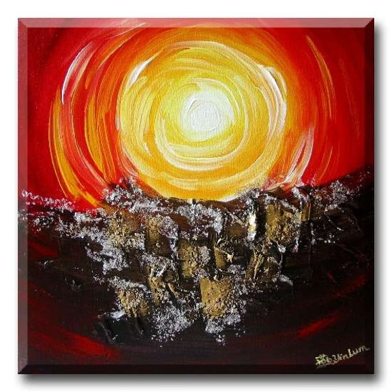 "Sunset painting, red landscape painting, wall murals sunset, sunrise wall, abstract sunset art, sun and moon wall art 12""x12"" Yin Lum YINART"