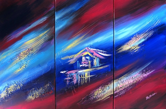 twilight midnight large painting tropical huts Asian lake landscape pool pond color clouds galaxy starry night sky red blue house