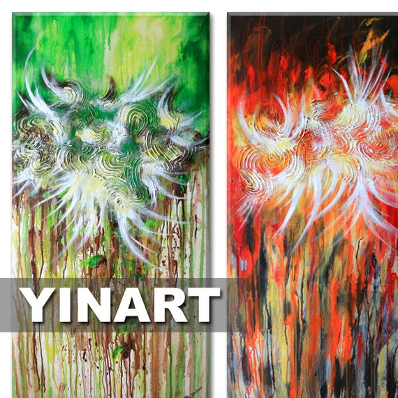 """Abstract Landscape painting - red green brown Global Warming Art, flower painting (Forest Fire -Two 24""""x48"""" Yin Lum)"""