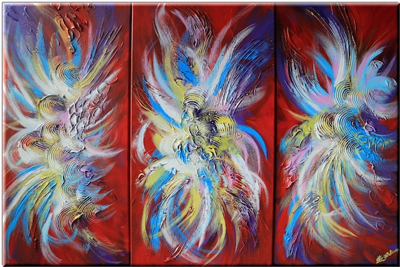 fight fishes abstract art in vibrant red blue yellow white painting orient flavor flakes strokes animal fish artwork acrylic mix media