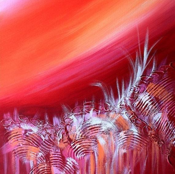"Abstractbart, Landscape painting, Tropical Island 24""x48"" - Pink Rose Garden Art"