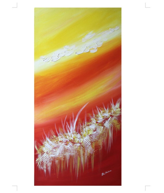 "Abstract art, Landscape painting, Tropical Island 24""x48"" - Lemon Sky Art (Art commission)"