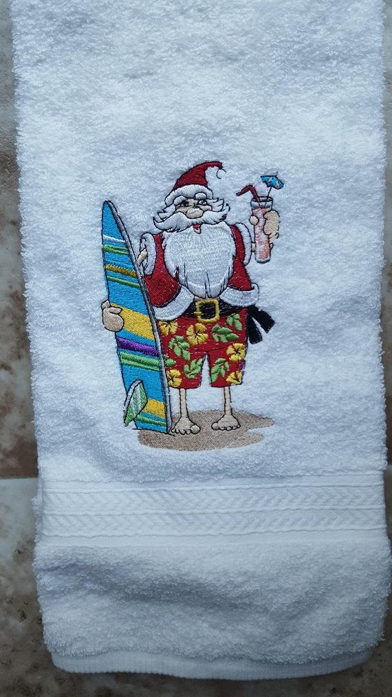 Christmas is Better At the Beach Embroidered Kitchen Dish Towel