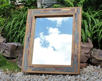 Rustic Mirror - Wood and Tile - Bathroom Mirrors - Mosaic Frame - 24 x 28 - Modern Rustics