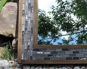 Wood and Tile Mirror - Bathroom Decor - Mosaic Frame - 24 x 28 - The New Rustic
