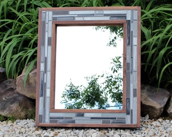 Grey Mirror - Wood and Tile - Bathroom Mirrors - Mosaic Frame - 24 x 28 - The New Rustic Decor