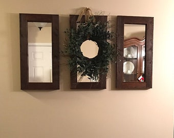 Three 28 x 14 mirrors -  3 Piece Collage Set - Rustic Decor - Reclaimed wood Mirror - Wall Art