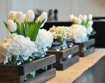 3 Wood Crate Centerpieces - Rustic Wedding Decor Crates