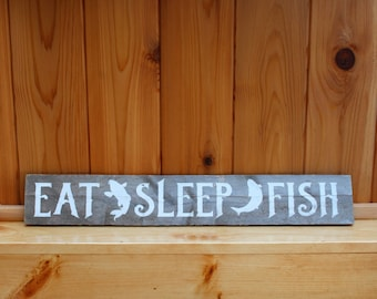 Reclaimed Wood Sign - Eat Sleep Fish - Gifts for Men - Fishing signs - Man Cave Decor - Fisherman's Gift - Dad