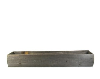 Long Centerpiece Box For Rustic Wedding Table Decor Made from Reclaimed Wood 24in