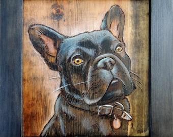 Framed woodburning pet portrait