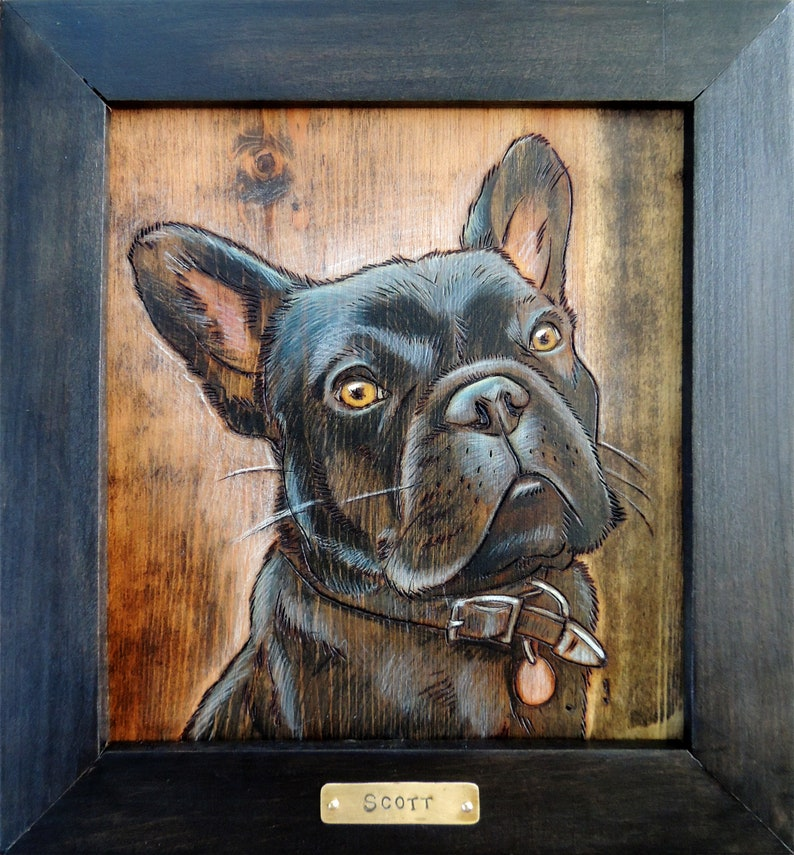 Framed woodburning pet portrait image 0