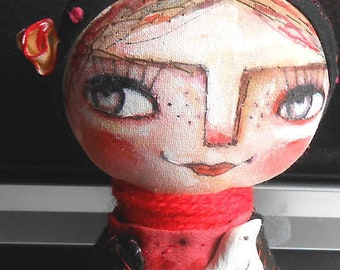 Original art doll Nora girl with white bird hand made ,hand painted,OOAK from miliaart studio